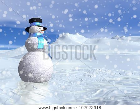 Snowman by winter - 3D render