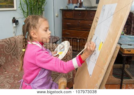 A Girl Studying Painting In The Artist's Studio