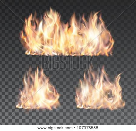 Set of realistic fire flames on transparent background