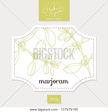 Product sticker with hand drawn marjoram leaves. Spicy herbs packaging design