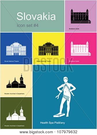 Landmarks of Slovakia. Set of color icons in Metro style. Editable vector illustration.