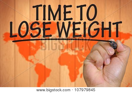 Hand Writing Time To Lose Weight Over Blur World Background