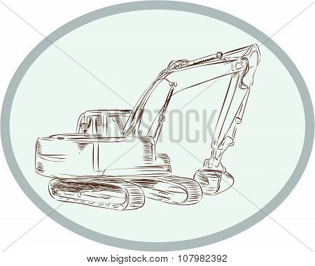 Mechanical Digger Excavator Oval Etching