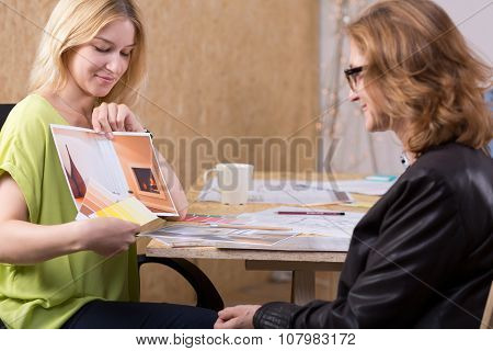 Young Woman Presenting Design Project