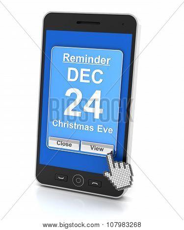 Smartphone reminder for Christmas Eve, 3d render