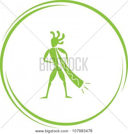 ethnic little man with trumpet. Internet button. Vector icon.