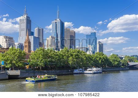 Melbourne Skyline With Sightseeing Ferry And Restaurant