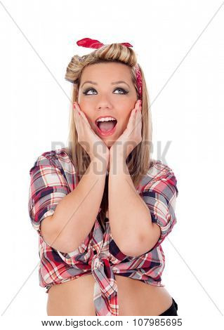 Surprised blonde girl with blue eyes in pinup style isolated on a white background