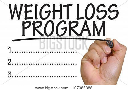 Hand Writing Weight Loss Program Over Plain White Background