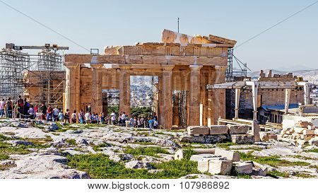 Tourists Visit The Acropolis Of Athens