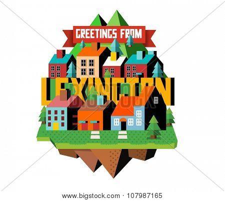 Lexington beautiful city to visit. vector cartoon