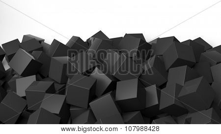 3D black cubes pile, isolated on white with copy-space