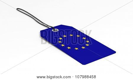 Made in EU price tag with national flag, isolated on white background.