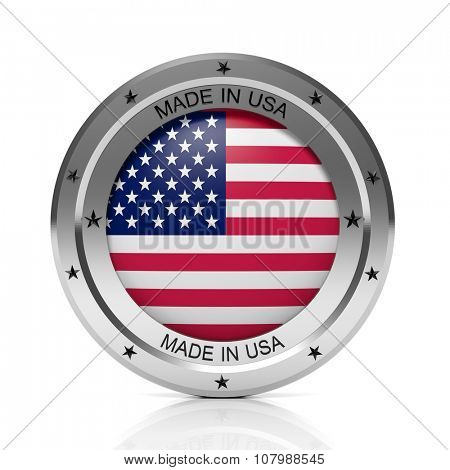 Made in USA round badge with national flag, isolated on white background.