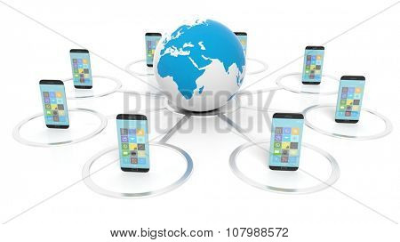 Globe icon with smartphones around it, isolated on white background