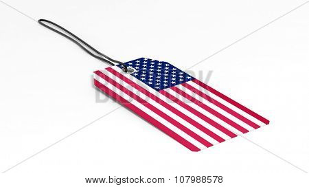 Made in USA price tag with national flag, isolated on white background.