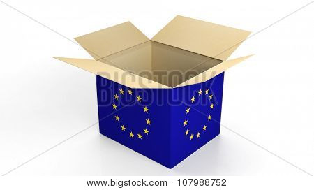 Carton box with EU flag, isolated on white background.