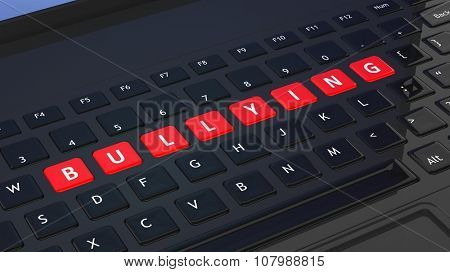 Black keyboard closeup with word Bullying