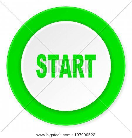 start green fresh circle 3d modern flat design icon on white background