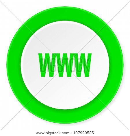 www green fresh circle 3d modern flat design icon on white background