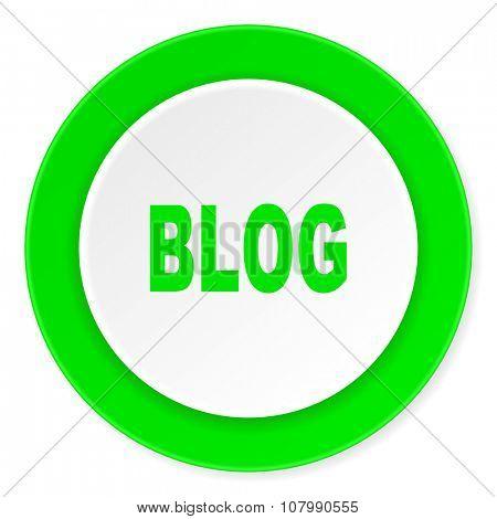 blog green fresh circle 3d modern flat design icon on white background