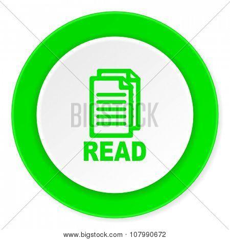 read green fresh circle 3d modern flat design icon on white background