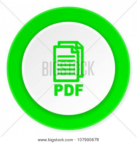 pdf green fresh circle 3d modern flat design icon on white background ,