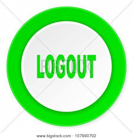 logout green fresh circle 3d modern flat design icon on white background