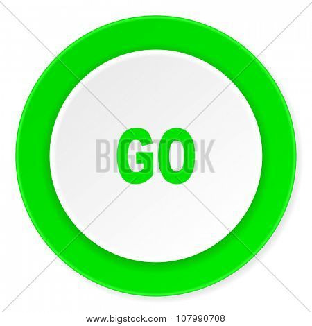 go green fresh circle 3d modern flat design icon on white background