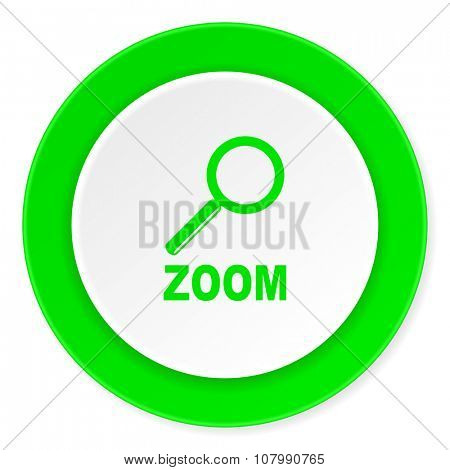 zoom green fresh circle 3d modern flat design icon on white background