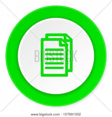 document green fresh circle 3d modern flat design icon on white background