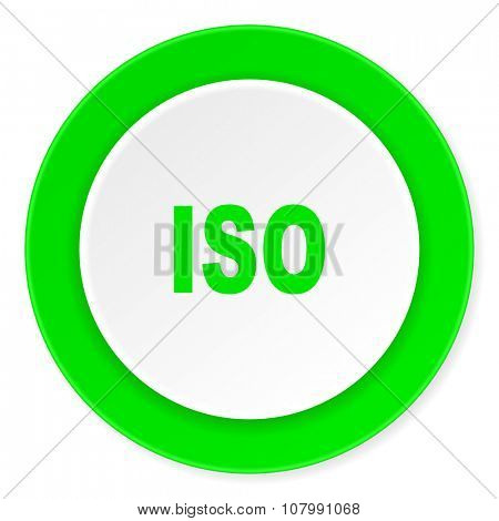 iso green fresh circle 3d modern flat design icon on white background