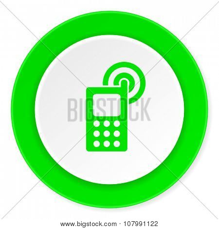 phone green fresh circle 3d modern flat design icon on white background