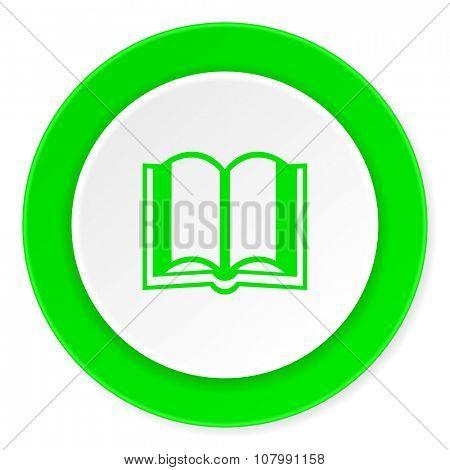 book green fresh circle 3d modern flat design icon on white background