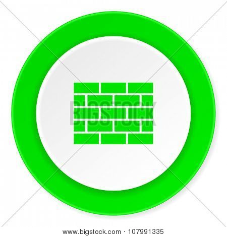 firewall green fresh circle 3d modern flat design icon on white background