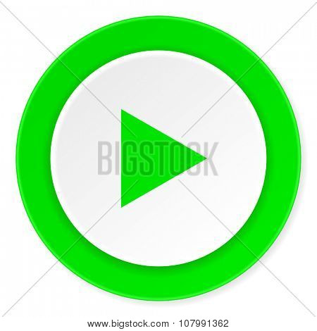 play green fresh circle 3d modern flat design icon on white background