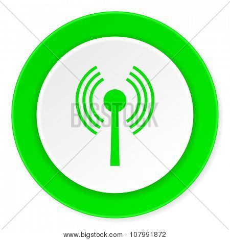 wifi green fresh circle 3d modern flat design icon on white background