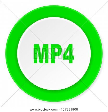 mp4 green fresh circle 3d modern flat design icon on white background