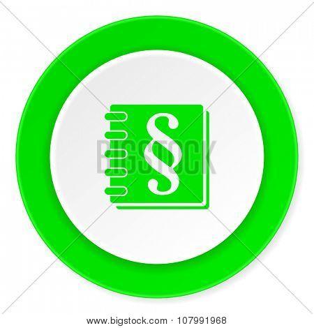 law green fresh circle 3d modern flat design icon on white background