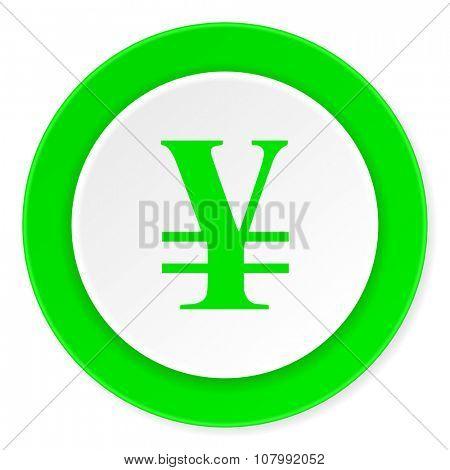 yen green fresh circle 3d modern flat design icon on white background