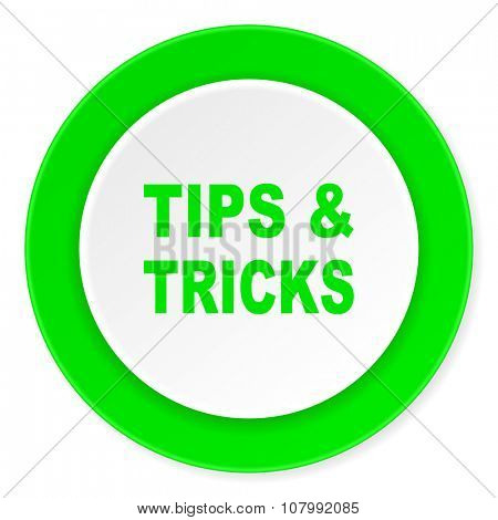 tips tricks green fresh circle 3d modern flat design icon on white background