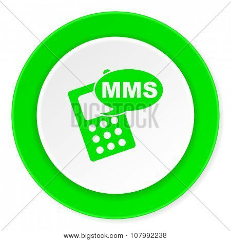 mms green fresh circle 3d modern flat design icon on white background