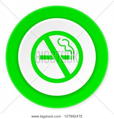 no smoking green fresh circle 3d modern flat design icon on white background