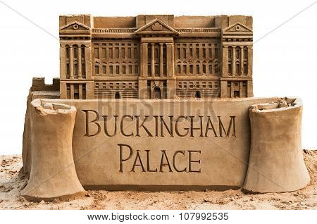 Sand sculpture of the Buckingham Palace small model miniature with clipping path