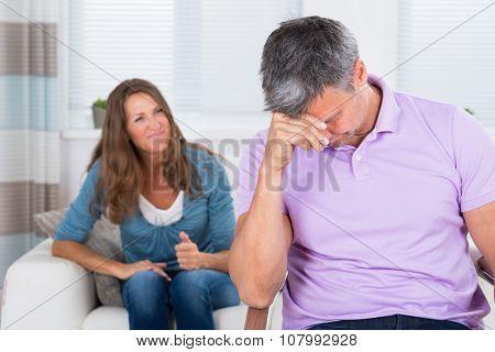 Woman Shouting To The Depressed Man