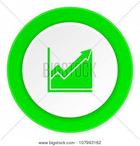 histogram green fresh circle 3d modern flat design icon on white background