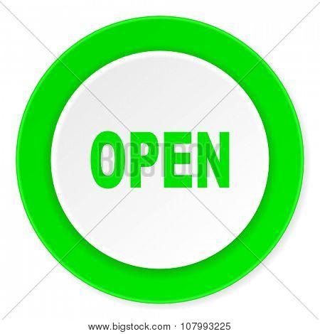 open green fresh circle 3d modern flat design icon on white background