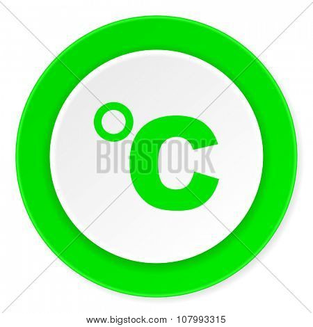 celsius green fresh circle 3d modern flat design icon on white background