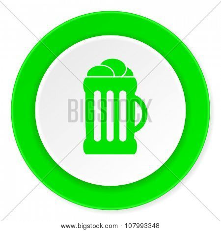 beer green fresh circle 3d modern flat design icon on white background