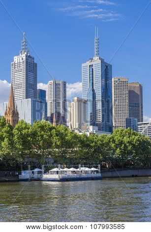 Melbourne Skyline With Floating Restaurant